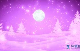 唯美雨松树月亮紫色浪漫舞台背景视频素材