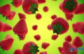 清新儿童卡通草莓旋转背景视频素材