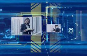 现代科技商务范三维空间效果企业宣传片片头展示AE素材