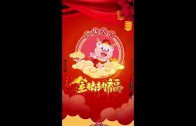 喜气新春祝福猪年卡通动画竖屏小视频模板