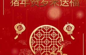 大红金色2019新年祝福语竖屏小视频模板