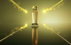 震撼华丽金色三维奖杯粒子穿梭企业颁奖典礼开场展示AE素材