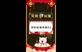 2019猪年元宵节祝福卡通手机竖屏小视频模板