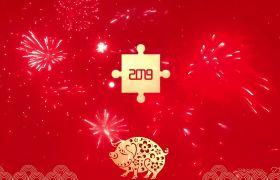 2019红色精美猪年春节拼图展示祝福模板