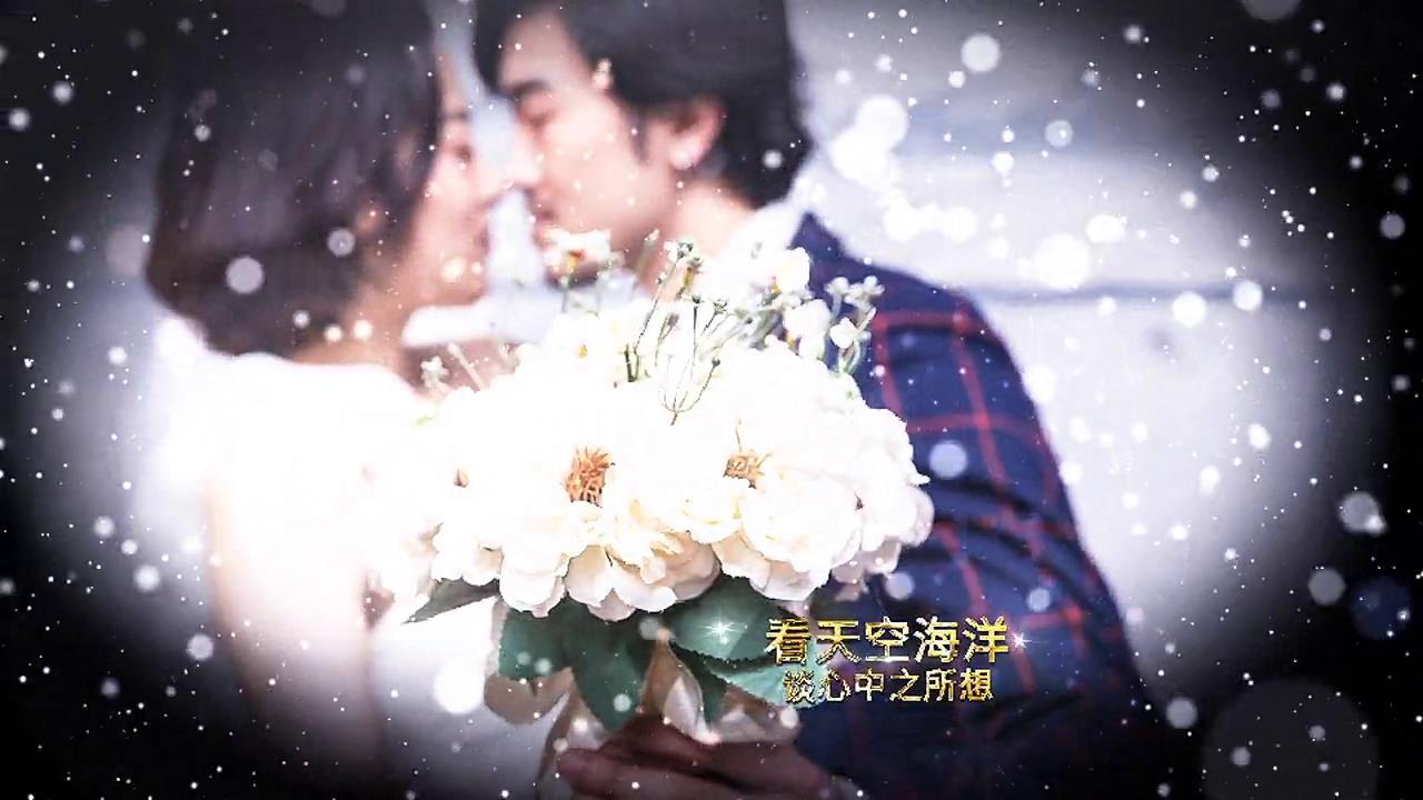 华丽大气粒子光晕闪烁暗角模糊效果婚礼开场相册照片展示ae素材