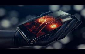 现代立体科技感手机模?#25512;?#24149;展示logo模板