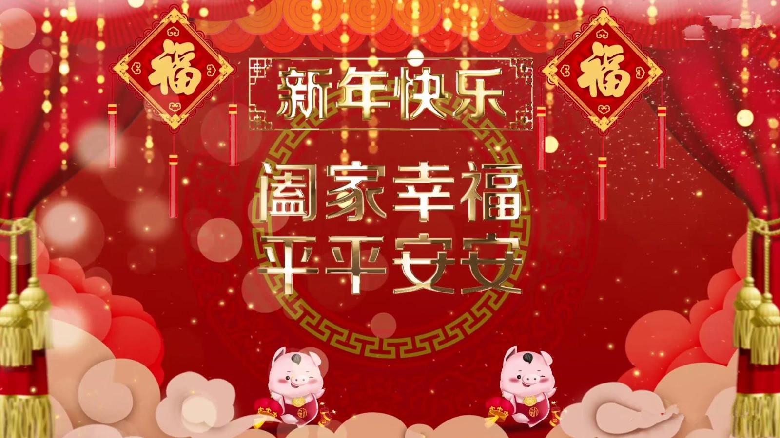 热闹喜庆猪年春节祝福拜年视频模板