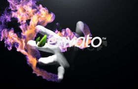 炫酷动感粒子风沙晕染手掌紧握拖拽LOGO标志展示AE素材