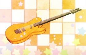 音乐吉他乐器旋转循环卡通动画视频