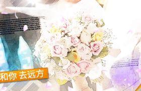 温馨唯美花瓣飞舞水墨素描晕染特效婚礼相册开场展示AE素材
