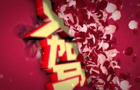 红色玫瑰花瓣揭示三八女王节宣传模板