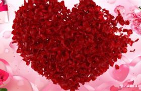粉色浪漫心形花瓣揭示三八妇女节女王节片头模板