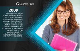 优雅企业商务宣传时间线图文展示幻灯片模板
