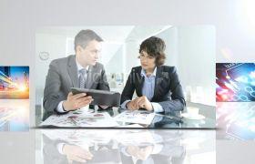 时尚大气玻璃遮罩点缀三维空间展示公司商务图文宣传片AE素材