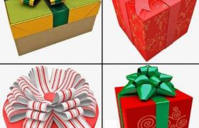 C4D模?#20572;?#31934;美时尚礼物包装盒C4D模型 TurboSquid Gift boxes