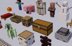 C4D预设:《我的世界》游戏人物道具预设模型