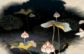 中国风水墨风荷花蝴蝶飞舞夜色月亮背景视频