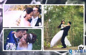 唯美银白爱心点缀简洁三维相册照片展示婚礼开场视频AE素材