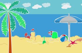 夏日海边沙滩度假玩耍卡通动画视频素材