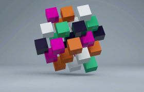 彩色立体创意方块正?#25945;?#21160;态视频素材