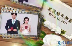 温馨甜蜜卡通胶片相框彩虹光晕点缀婚礼相册开场视频AE素材