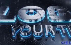 水滴大气立体金属感logo片头动画特效模板