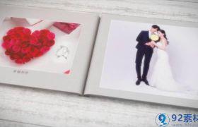 温馨浪漫三维书本翻页切图特效婚礼相册开场展示AE素材