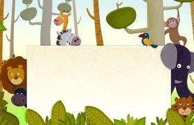 儿童有趣森林动物卡通白板背景视频素材