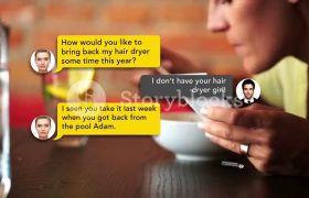 简约商务手机短信聊天对话消息文本动画模板