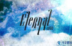 大气天空云层背景三角网格点缀字幕LOGO展示AE素材