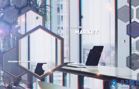 高端炫酷科技感六边形蜂窝背景公司商务宣传片展示AE素材