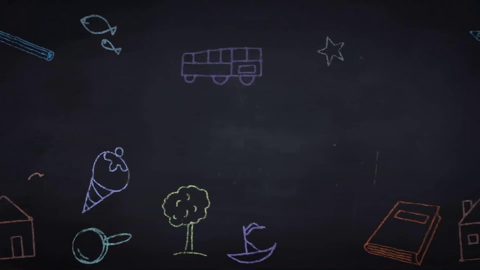 黑板手绘粉笔画儿童卡通动画背景视频素材
