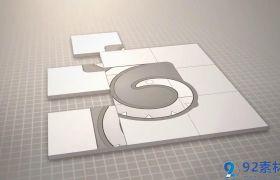 创意简约时尚三维板块拼接特效LOGO标志开场AE素材