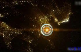 AE素材 大气金色粒子中国世界地图辐射点发散企业宣传动画模板