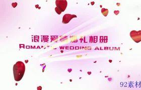 AE素材 浪漫甜蜜花瓣照片悬挂爱情婚礼相册开场动画模板