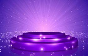 紫色大气炫丽闪耀光芒舞台背景led视频素材