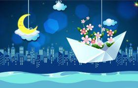 夜晚月亮纸船卡通动画背景视频素材