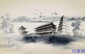 震撼大气中国风水墨山水画片头ae图文模板