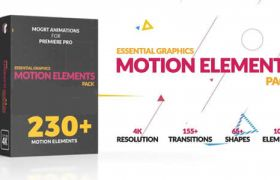 PR模板�A�O:230��Premiere�D�觥�D形元素MG�赢� Motion Elements Pack+使用教程