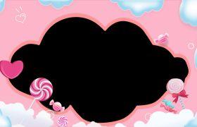 可爱粉色边框儿童卡通动画视频素材