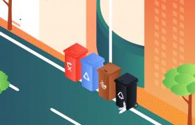 垃圾有效分��G色�h保♂城市宣��AE��B模板