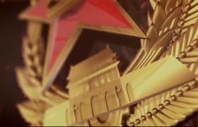 八一建军节徽标全方位展示动态AE模板