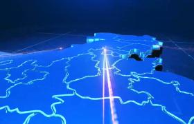 震撼藍色三維立體科技定位地理圖