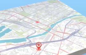 創意3D空間地圖標注幻燈片模板