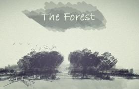 中國風水墨森林動畫演示AE模板