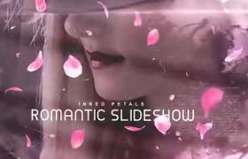 浪漫的水墨樱花爱情图像展示AE模板