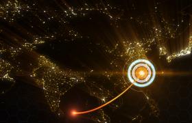 金色粒子大气中国地图经济辐射发散企业宣传动画AE模板
