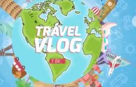 卡通风格旅游节目标志片头动画AE模板