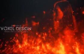 震撼紅色燃燒火焰電影標題特效開場AE模板