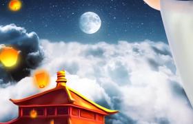 唯美嫦娥飞月动画中秋宣传背景视频AE模板